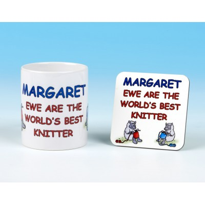 Personalised Mug and Coaster Set-Ewe Are The World's Best Knitter