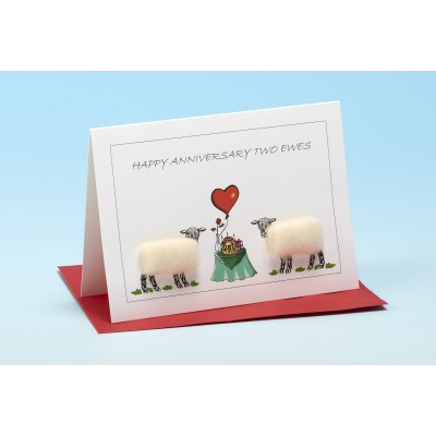 """S134 """"HAPPY ANNIVERSARY TWO EWES"""" Sheep card"""