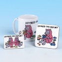 Set of Mug, Coaster and Fridge Magnet-HOOKED ON CROCHET BRIGHT PINK