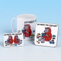 Set of Mug, Coaster and Fridge Magnet-HOOKED ON CROCHET BRIGHT RED