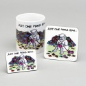 Set of Mug, Coaster and Fridge Magnet-JUST ONE MORE ROW