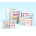 Set of Mug, Coaster and Fridge Magnet-KNITTING WORDS