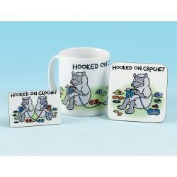 Set of Mug, Coaster and Fridge Magnet-HOOKED ON CROCHET