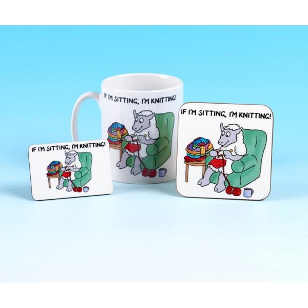 Set of Mug, Coaster and Fridge Magnet-IF IM SITTING IM KNITTING