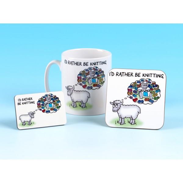 Set of Mug, Coaster and Fridge Magnet-ID RATHER BE KNITTING