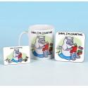 Set of Mug, Coaster and Fridge Magnet-SHHH IM COUNTING