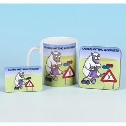 Set of Mug, Coaster and Fridge Magnet-CAUTION KNITTING IN PROGRESS