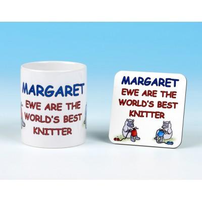 Personalised Mug and Coaster Set-Ewe Are The World's Best Knitter