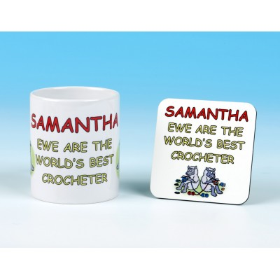 Personalised Mug and Coaster Set-Ewe Are The World's Best Crocheter