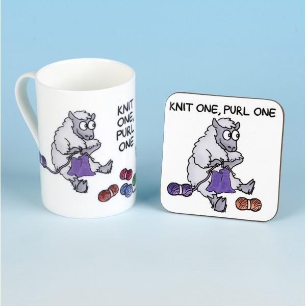 Bone China Mug and Coaster Set-KNIT ONE PURL ONE