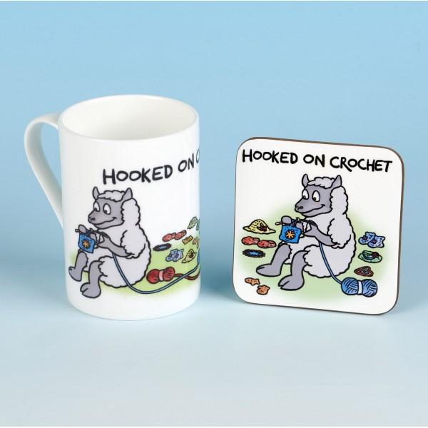 Bone China Mug and Coaster Set-HOOKED ON CROCHET
