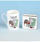 Bone China Mug and Coaster Set-IF IM SITTING IM KNITTING