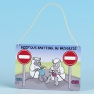 Metal Hanging Sign-KEEP OUT KNITTING IN PROGRESS