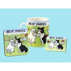 Set of Mug, Coaster and Fridge Magnet -BEST MATES