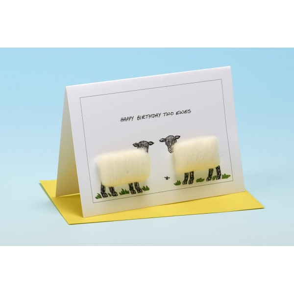 "S34 ""HAPPY BIRTHDAY TWO EWES"" Sheep card"