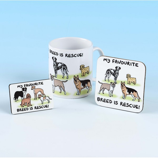 Set of Mug, Coaster and Fridge Magnet -MY FAVORITE BREED IS RESCUE