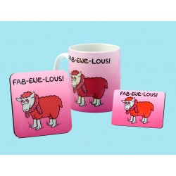 Set of Mug, Coaster and Fridge Magnet-FAB-EWE-LOUS
