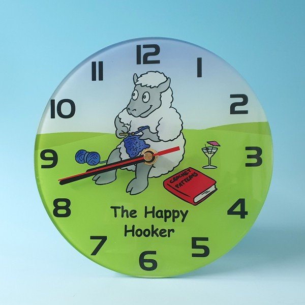 Glass Clock-THE HAPPY HOOKER
