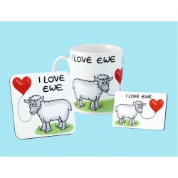 Set of Mug, Coaster and Fridge Magnet-I LOVE EWE