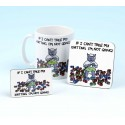 Set of Mug, Coaster and Fridge Magnet-IF I CANT TAKE MY KNITTING