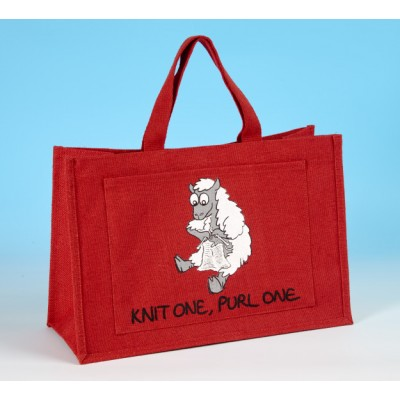 JB18 Knitting Bag-KNIT ONE, PURL ONE Red