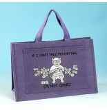 JB77 Knitting Bag-IF I CANT TAKE MY KNITTING IM NOT GOING Lilac