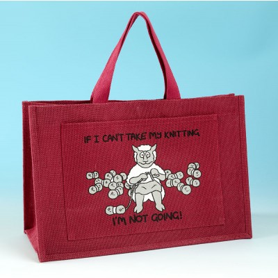 JB79 Knitting Bag-IF I CANT TAKE MY KNITTING IM NOT GOING Dark Pink
