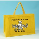 JB80 Knitting Bag-IF I CANT TAKE MY KNITTING IM NOT GOING Yellow