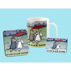 Set of Mug, Coaster and Fridge Magnet -NEVER MIND THE WEATHER