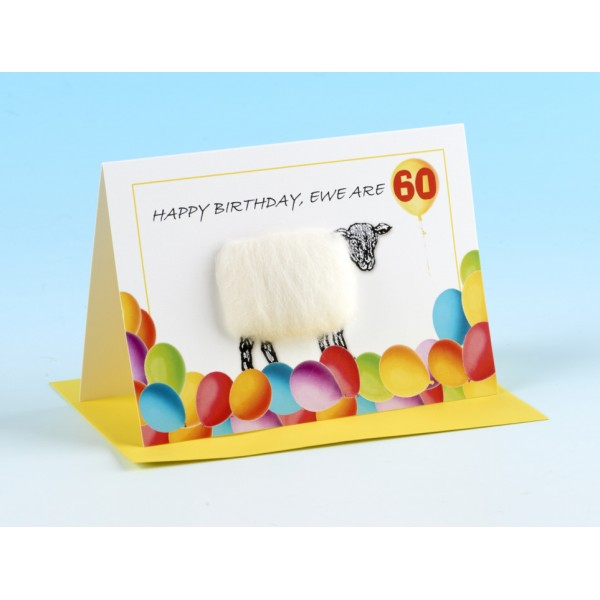 "S130 ""HAPPY BIRTHDAY EWE ARE 60!"" Sheep card"