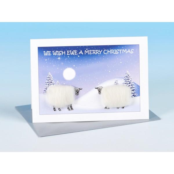 S160 Sheep Christmas  Card-WE WISH EWE A MERRY CHRISTMAS
