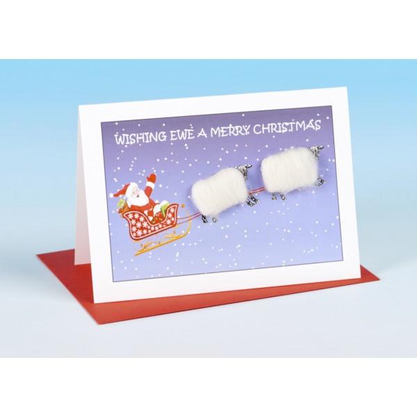 S161 Sheep Christmas  Card-WISHING EWE A MERRY CHRISTMAS