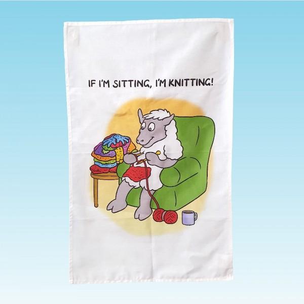 T62 Tea Towel-IF IM SITTING IM KNITTING