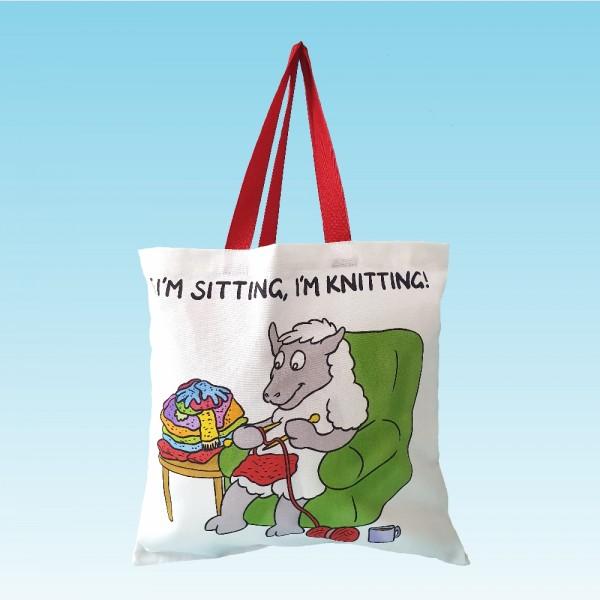 T82 Shopper Bag-IF IM SITTING IM KNITTING